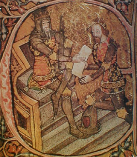 Edward III and Edward The Black Prince who receives Gascony