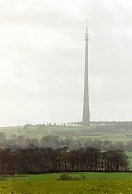 The grandeur of the communications tower near Midgley, Emley Moor.
