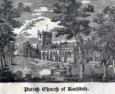 Rochdale Parish Church anou 1828